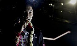 Muhammad Faathir pada penjemputan kontingen angkat besi setelah berlaga pada Asia Youth and Junior W