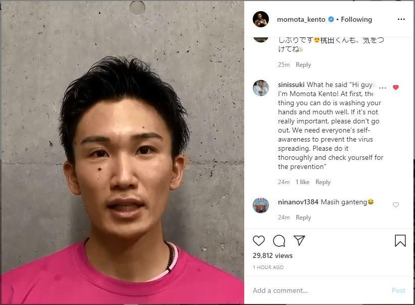 Ungahan Kento Momota pada Jumat (17/4/2020) yang mengimbau para penggemar untuk jaga kebersihan.