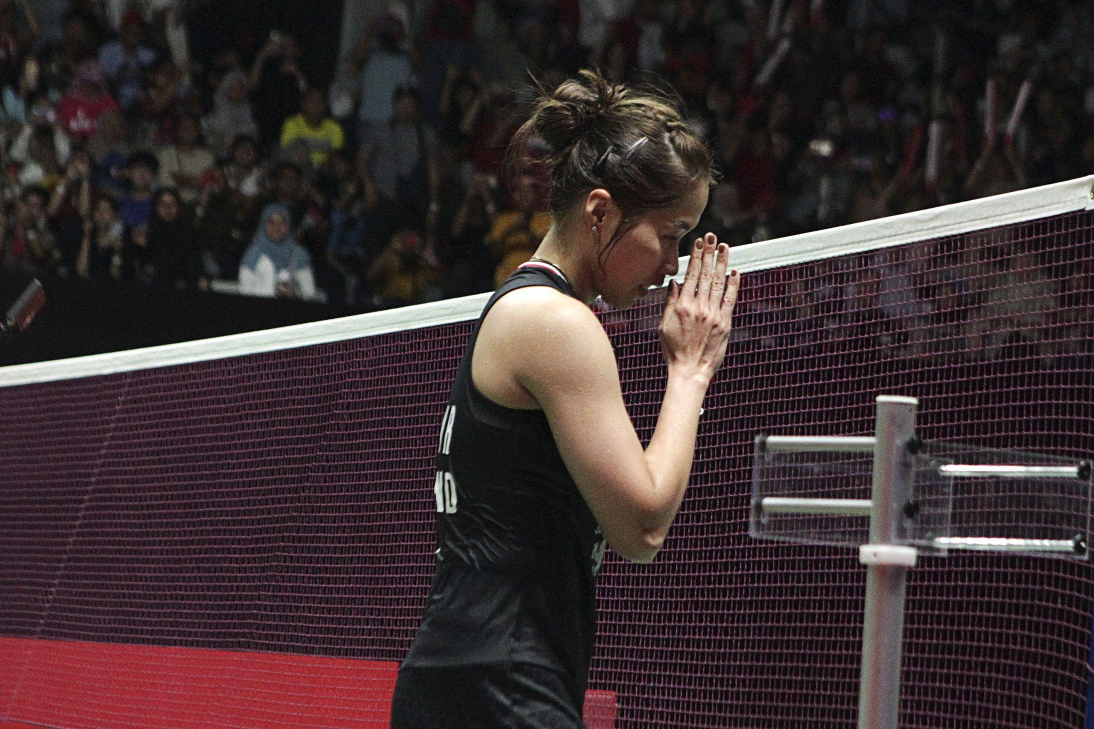 Ratchanok Intanon saat tampil di Istora Senayan, Jakarta dalam ajang Indonesia Masters 2020.