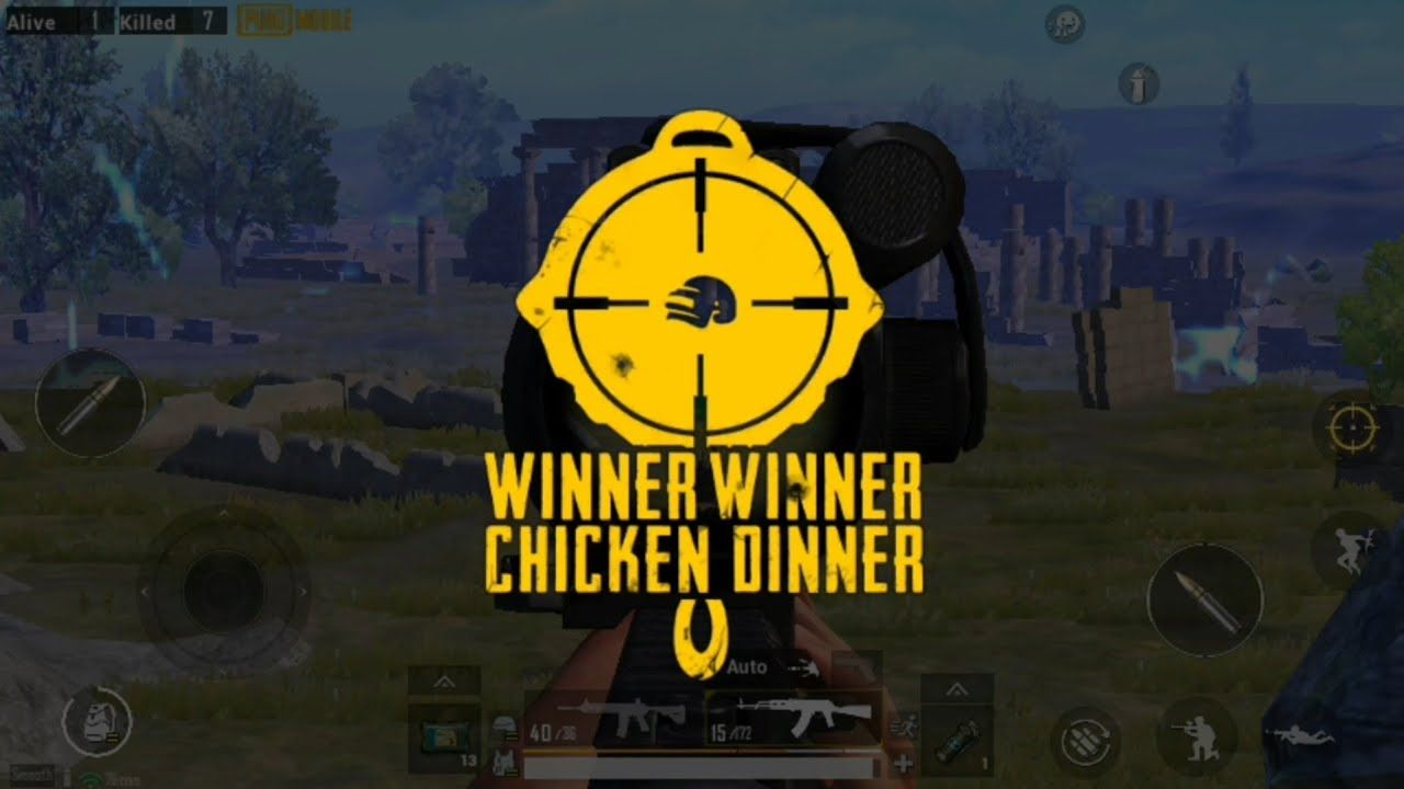 Kemenangan dalam permainan PUBG Mobile atau yang dikenal dengan Winner Winner Chicken Dinner (WWCD).