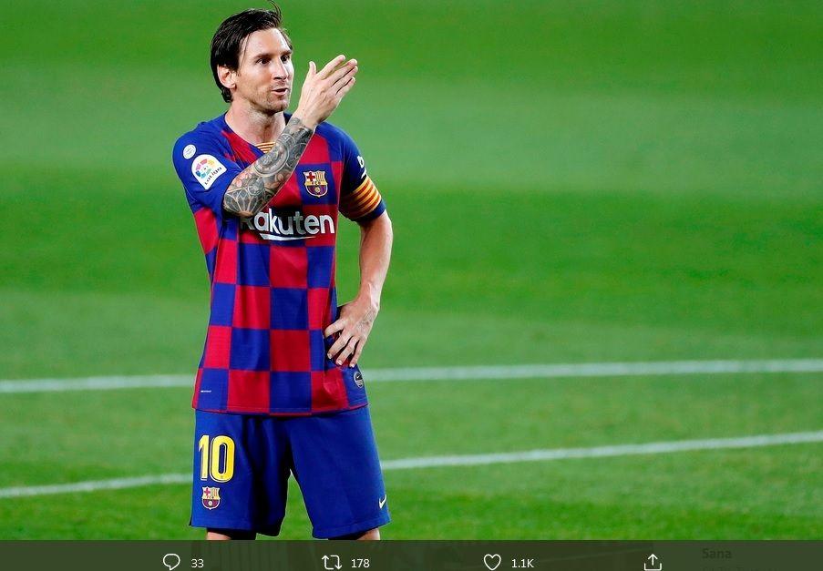 Striker Barcelona, Lionel Messi, merayakan gol ke gawang Leganes pada laga Liga Spanyol di Camp Nou, Selasa (16/6/2020).