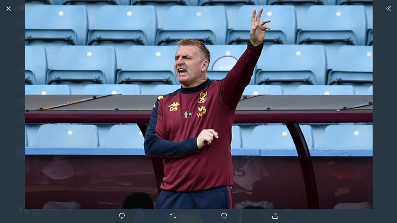 Pelatih Aston Villa, Dean Smith.