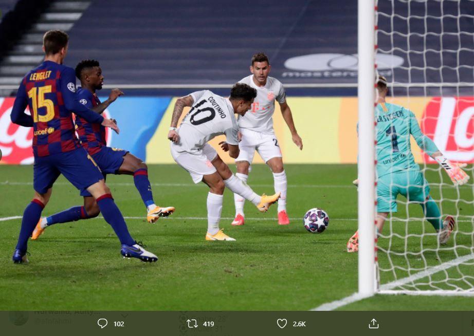 Proses gol Philippe Coutinho dalam laga Barcelona vs Bayern Munchen, Sabtu 15 Agustus 2020.