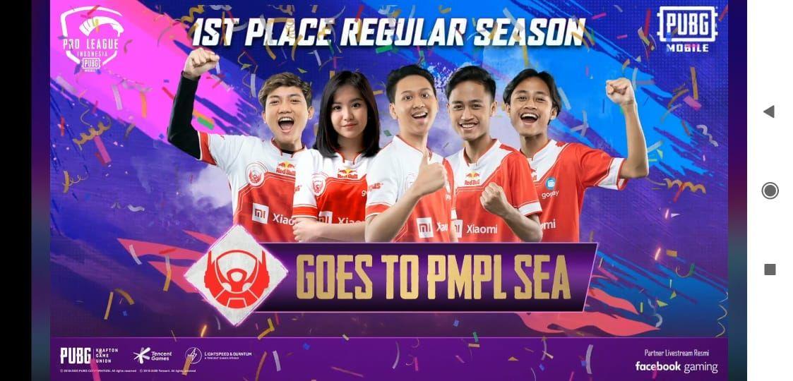 Bigetron Red Aliens menjadi tim terbaik di fase regular season atau fase liga di PMPL Indonesia Season 2.
