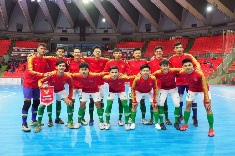 Foto timnas futsal Indonesia pada Piala Asia U-20 2019.