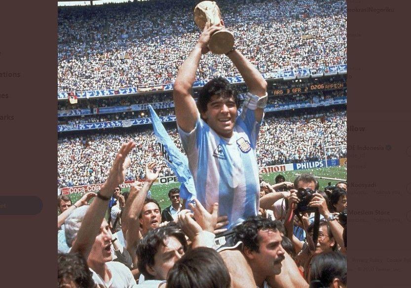 Diego Maradona membantu Argentina jadi juara Piala Dunia 1986.