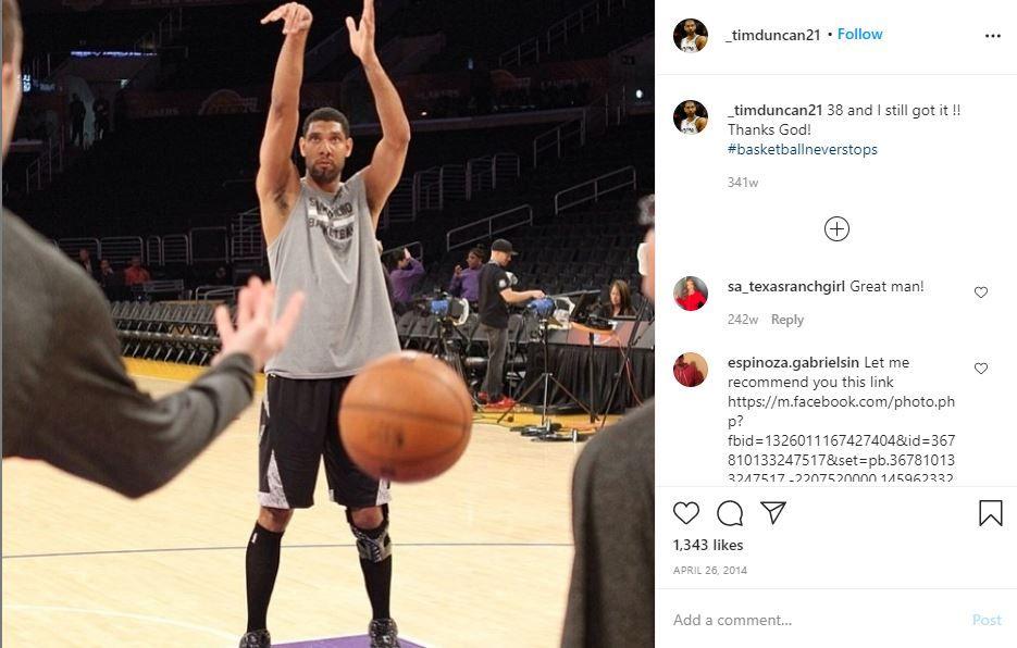 Unggahan Tim Duncan tahun 2014, dua tahun sebelum memutuskan pensiun dari San Antonio Spurs.