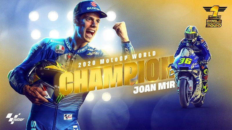 Pembalap Suzuki Ecstar, Joan Mir, sukses mengunci gelar juara dunia pembalap MotoGP 2020 setelah finis ketujuh pada GP Valencia.