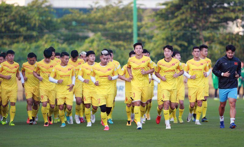 Skuad timnas Vietnam saat menggelar pemusatan latihan (TC) pada 2020.