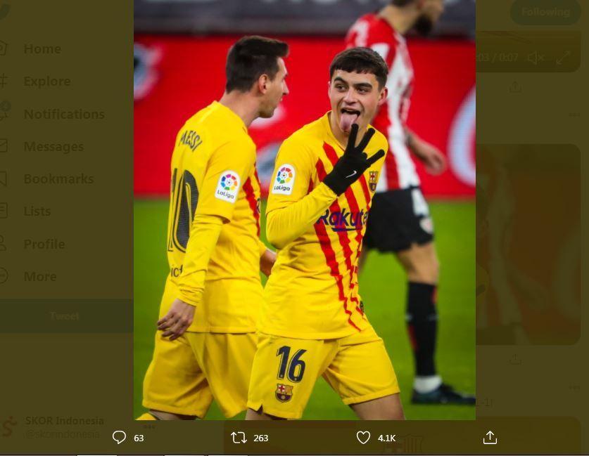 Lionel Messi (kiri) dan Pedri, menjadi pemain penting saat Barcelona menghadapi Athletic Bilbao.