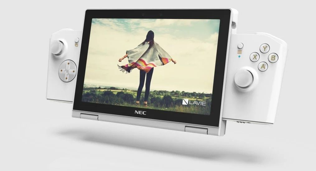 Laptop keluaran Lenovo, Lavie Mini, yang memiliki kemiripan dengan konsol besutan Nintendo, Switch.