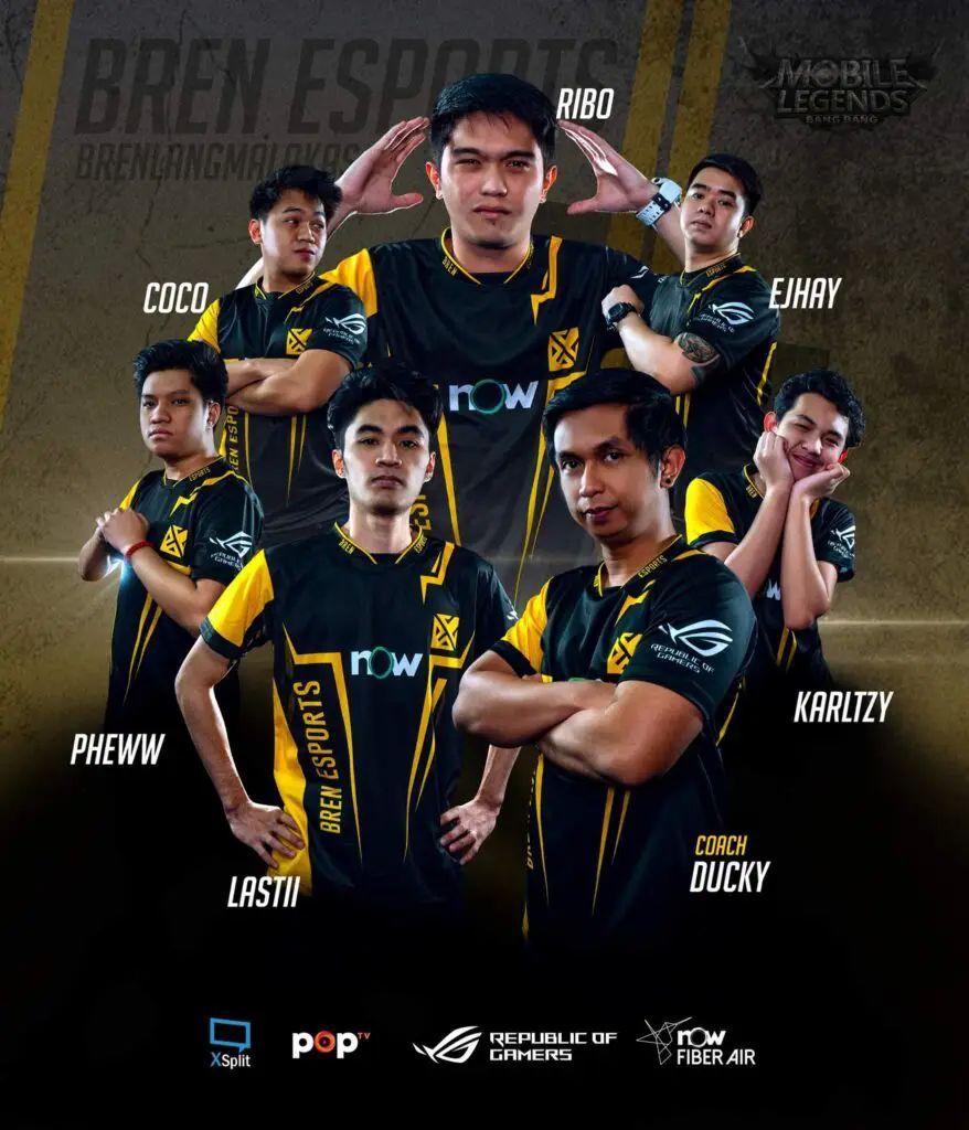 Coach Ducky, Karltzy, Ejhay, Ribo, Coco, Pheww,  Lastii. Roaster Tim Bren Esport Filipina