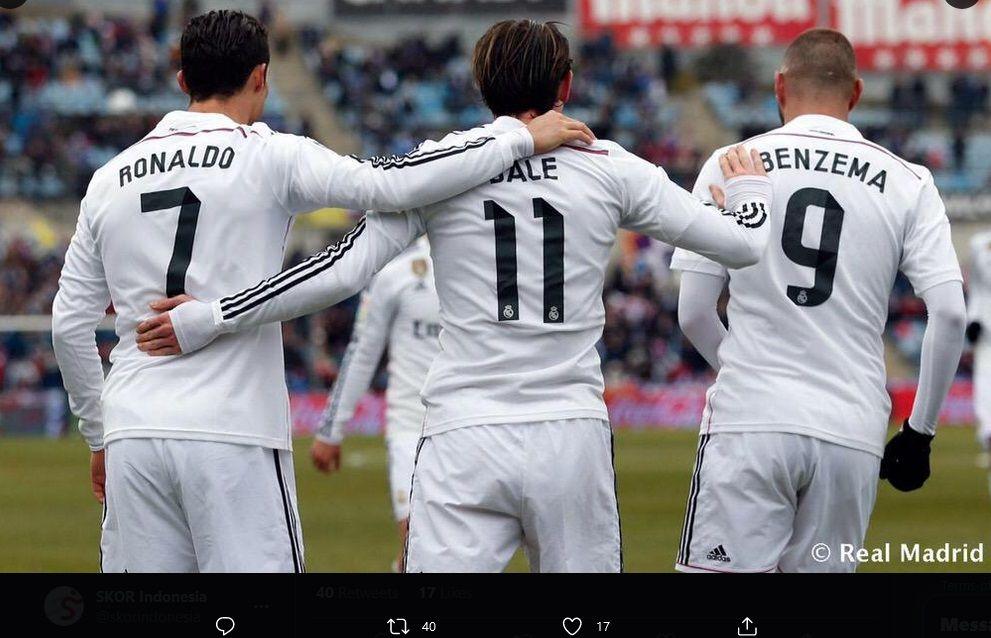 Trio lini depan Real Madrid: Cristiano Ronaldo, Gareth Bale, dan Karim Benzema membawa timnya meraih 22 kemengan beruntun pada 2014-2015.