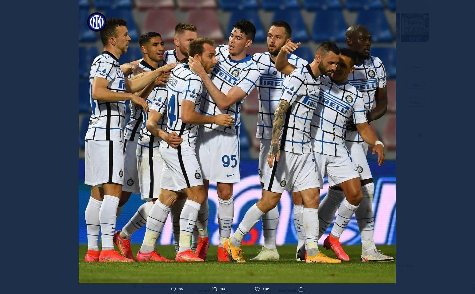 Para pemain Inter Milan setelah laga melawan Crotone di Liga Italia.