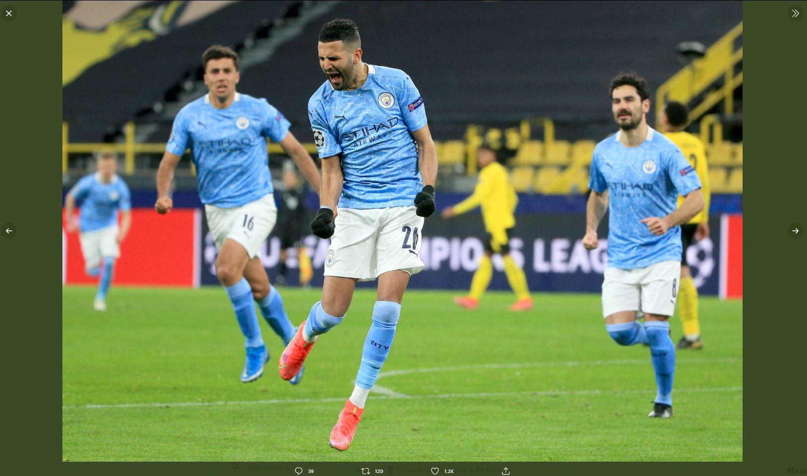 Para pemain Manchester City merayakan gol ke gawang Paris Saint-Germain (PSG) di Liga Champions, Rabu (5/5/2021) dini hari WIB.