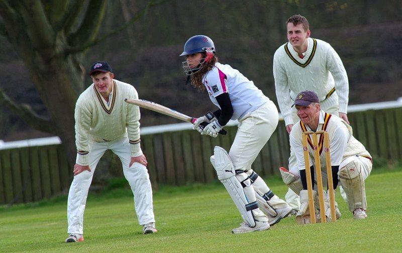 Ilustrasi permainan kriket.