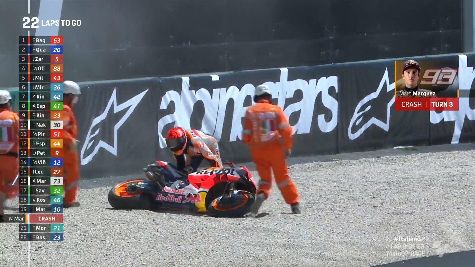 Marc Marquez terjatuh pada awal balapan MotoGP Italia 2021, Minggu 30 Mei 2021.