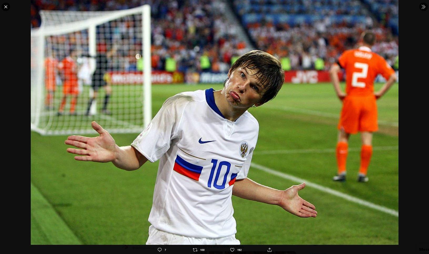 Bintang timnas Rusia saat menghadapi Belanda pada Piala Eropa 2008 (Euro 2008), Andrey Arshavin.
