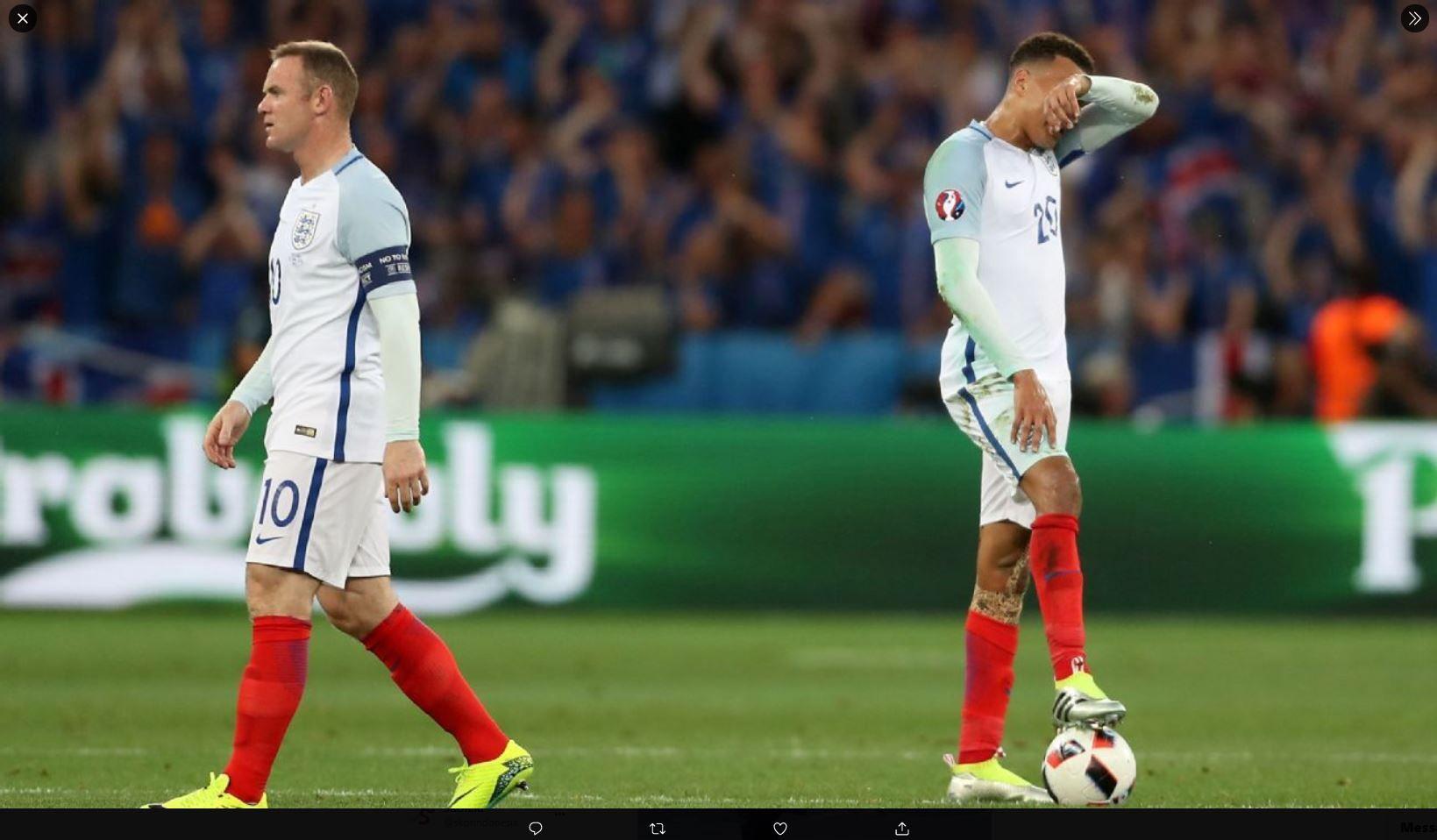 Ekspresi pemain timnas Inggris setelah kalah 1-2 dari Islandia di Piala Eropa 2016.