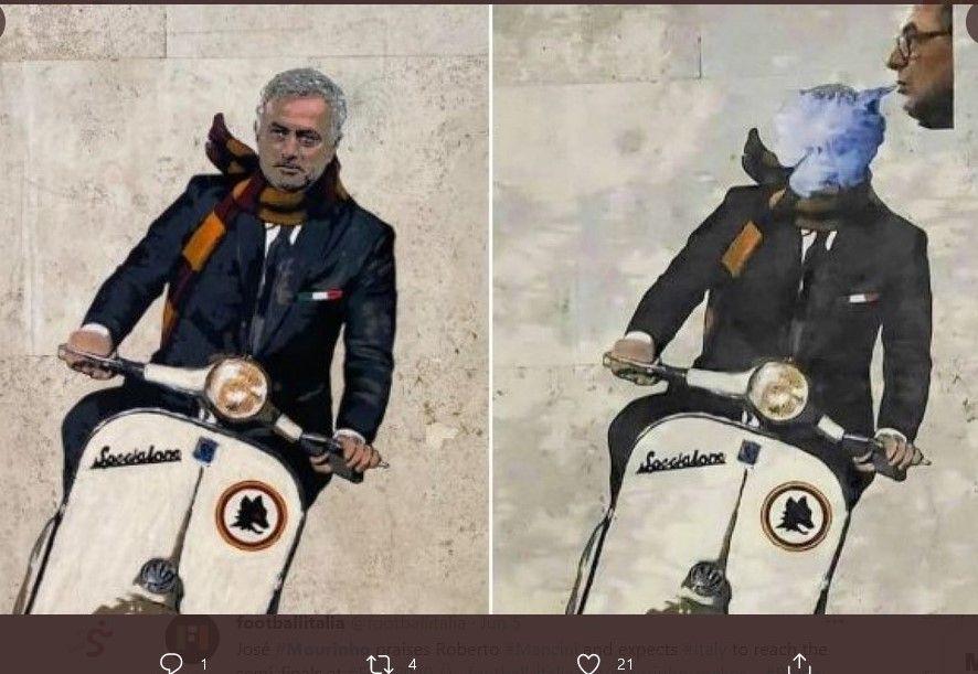 Inilah mural Jose Mourinho di Kota Roma, sebelum dan setelah wajah pelatih AS Roma tersebut ditutupi dengan mural asal rokok Maurizio Sarri.