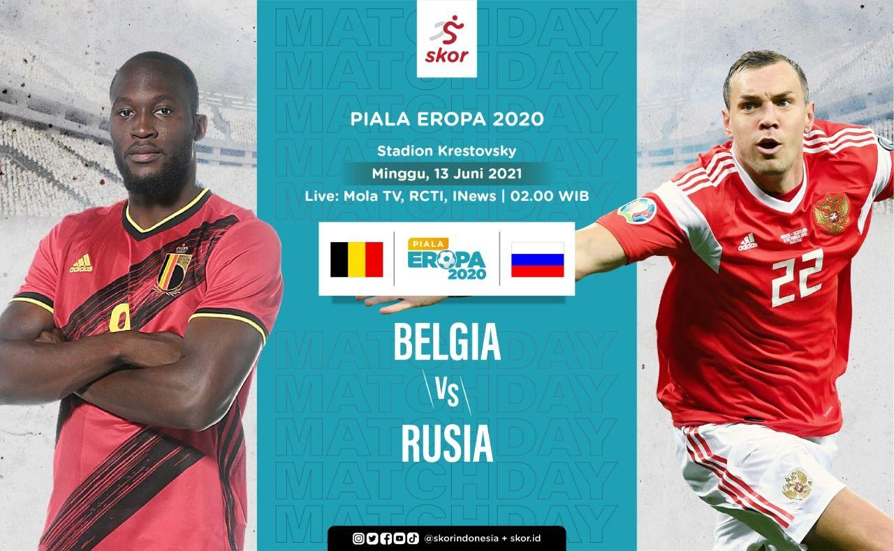 Cover Belgia vs Rusia di Piala Eropa 2020 (Euro 2020).
