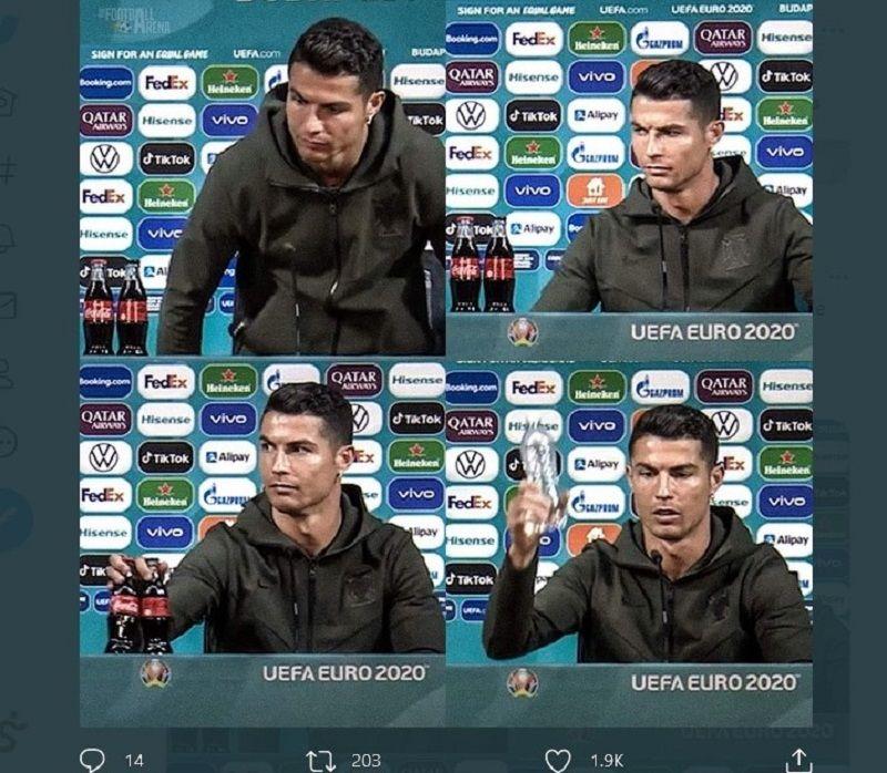 Momen ketika Cristiano Ronaldo menyingkirkan botol minuman coke, salah satu sponsor Piala Eropa 2020 dan menggantikannya dengan air mineral, dalam konferensi pers, hari ini.