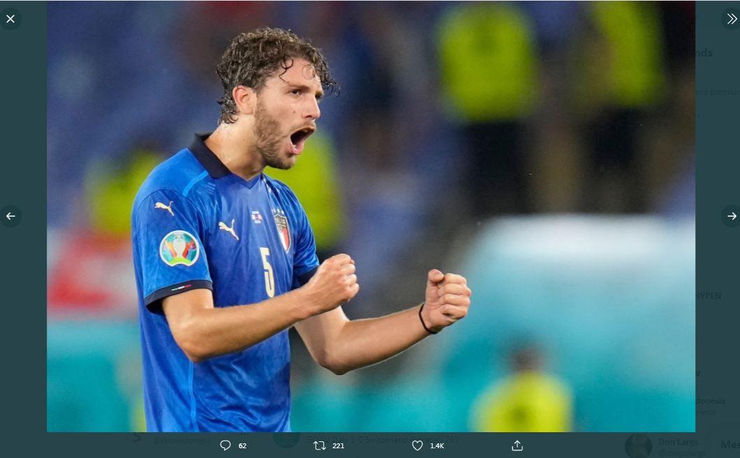 Ekspresi Manuel Locatelli saat mencetak gol untuk Italia ke gawang Swiss di Piala Eropa 2020 (Euro 2020).
