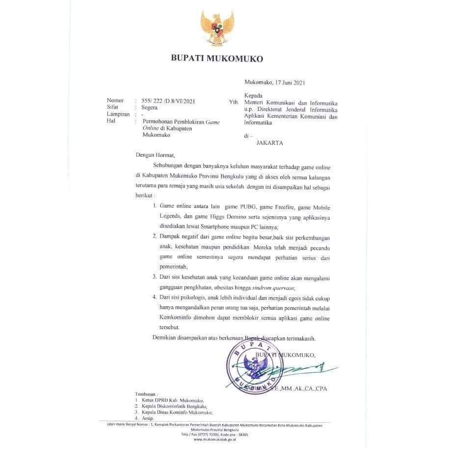Surat permohonan pemblokiran game online Bupati Mukomuko.