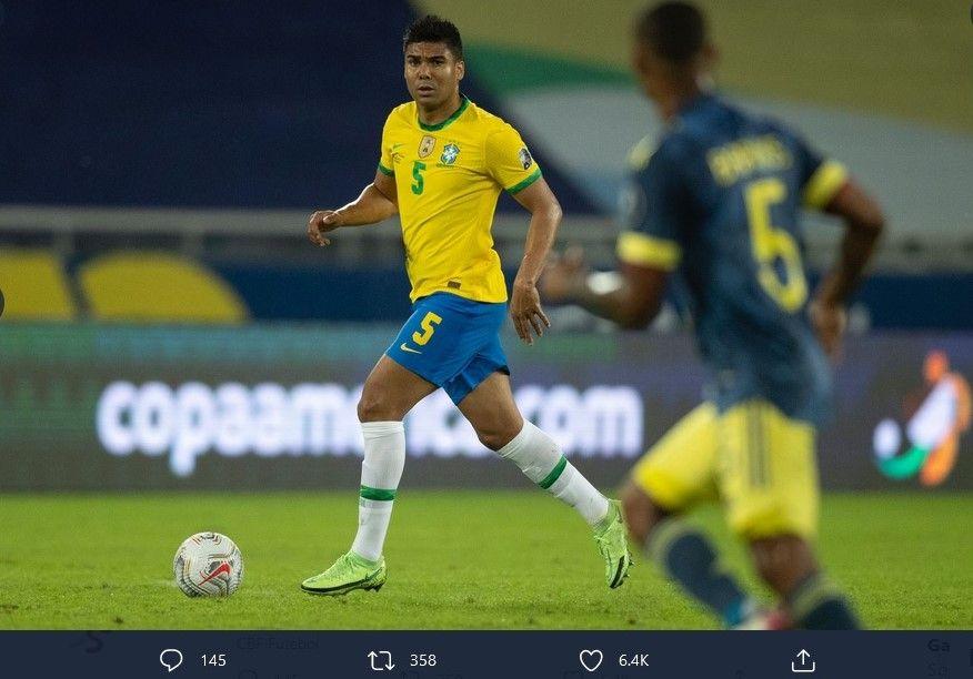 Carlos Casemiro saat bermain untuk timnas Brasil di Copa America 2021.