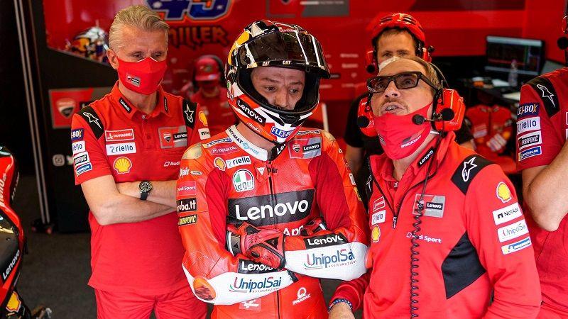 Jack Miller (Ducati Lenovo) terpaksa tak bisa melanjutkan balapan MotoGP Belanda 2021 setelah mengalami crash di Sirkuit Assen, Minggu (27/6/2021).