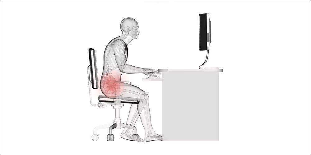 Ilustrasi postur tubuh buruk yang berdampak pada cedera bagian bawah tubuh.