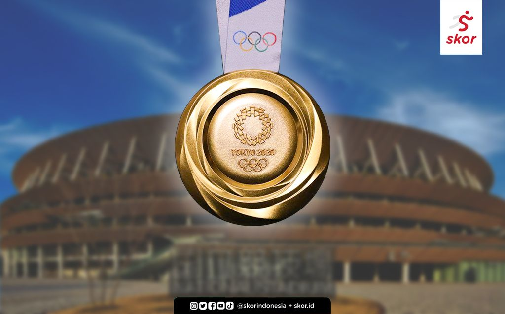 Ilustrasi medali emas Olimpiade Tokyo.