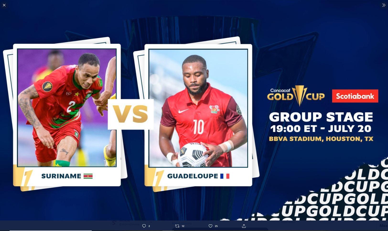 Cover laga Suriname  vs Guadeloupe di Piala Emas CONCACAF 2021.