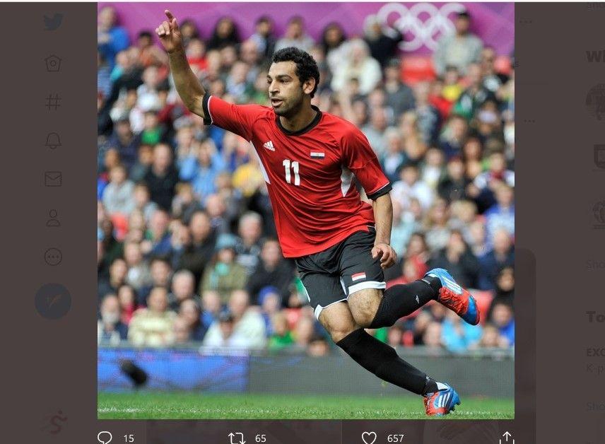 Mohamed Salah ketika merayakan gol pada Olimpiade 2012 bersama timnas Mesir ketika dirinya masih berusia 20 tahun.