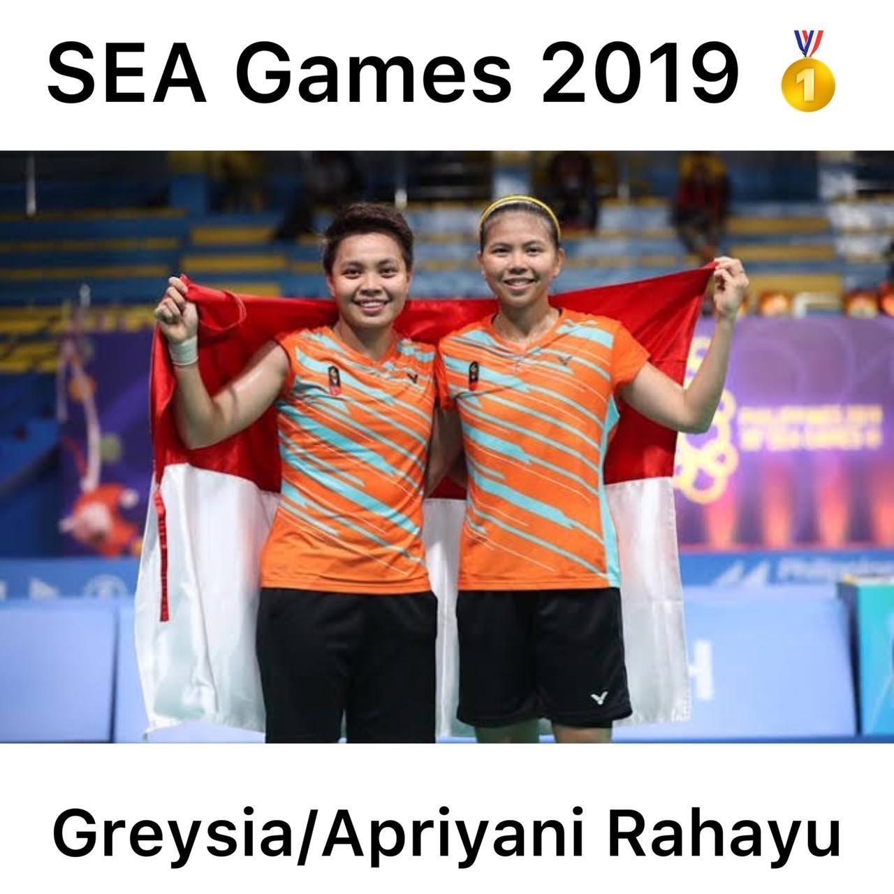 Momen medali emas Greysia Polii/Apriyani Rahayu di SEA Games 2019.