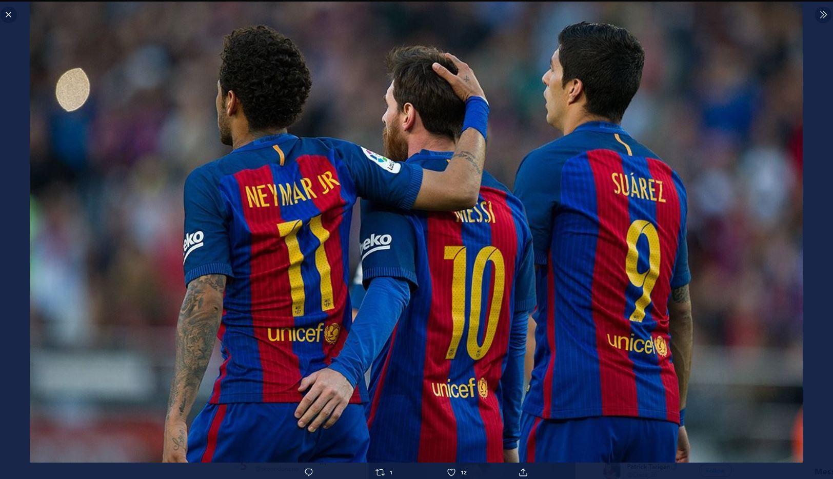 Trio MSN Barcelona, yang terdiri dari Lionel Messi, Luis Suarez, dan Neymar.