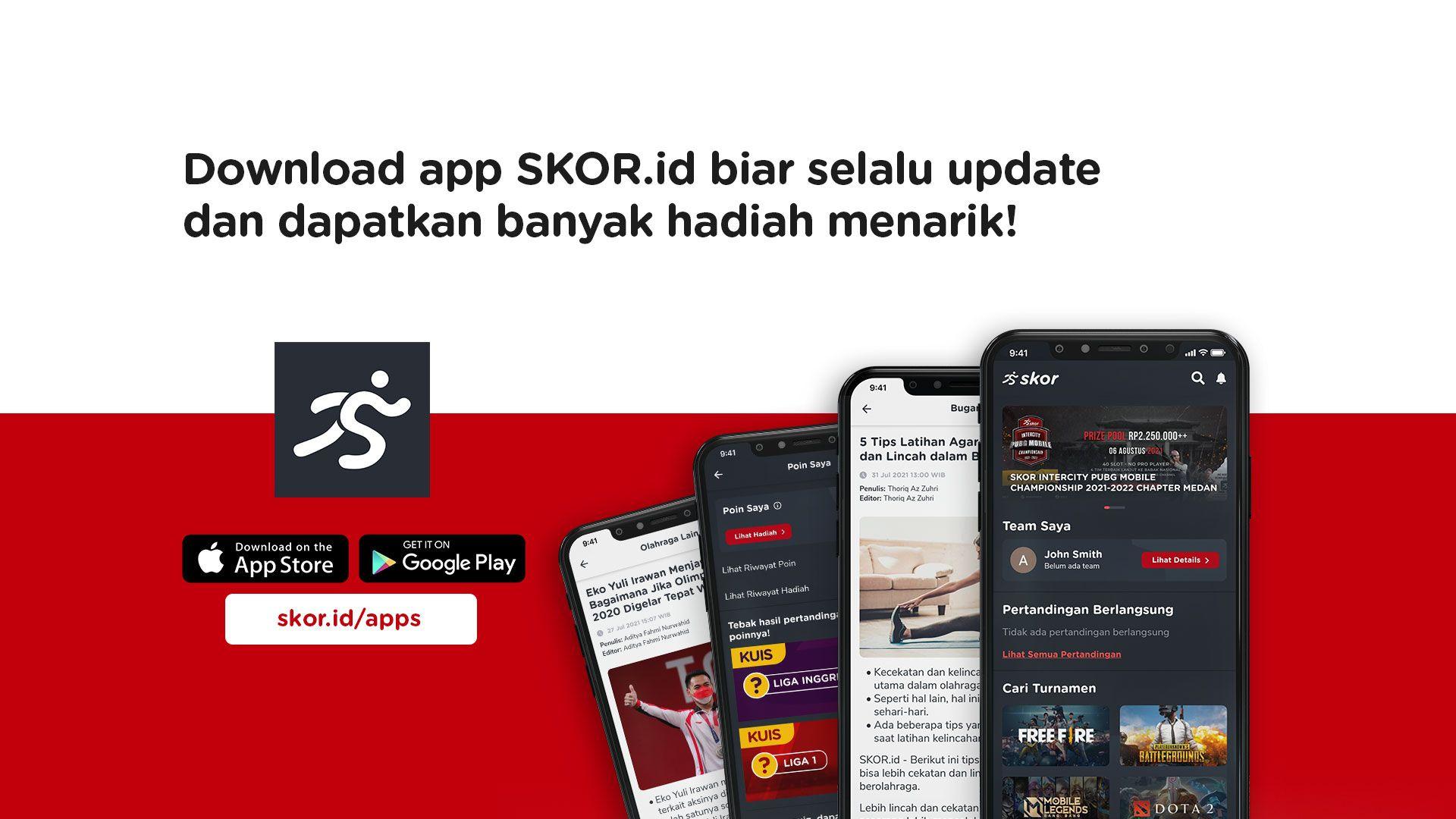 Download aplikasi Skor.id agar selalu update informasi olahraga, kesehatan, dan wellness.