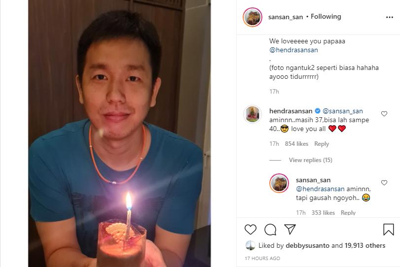 Unggahan sang istri di hari ulang tahun Hendra Setiawan ke-37 pada 25 Agustus 2021.