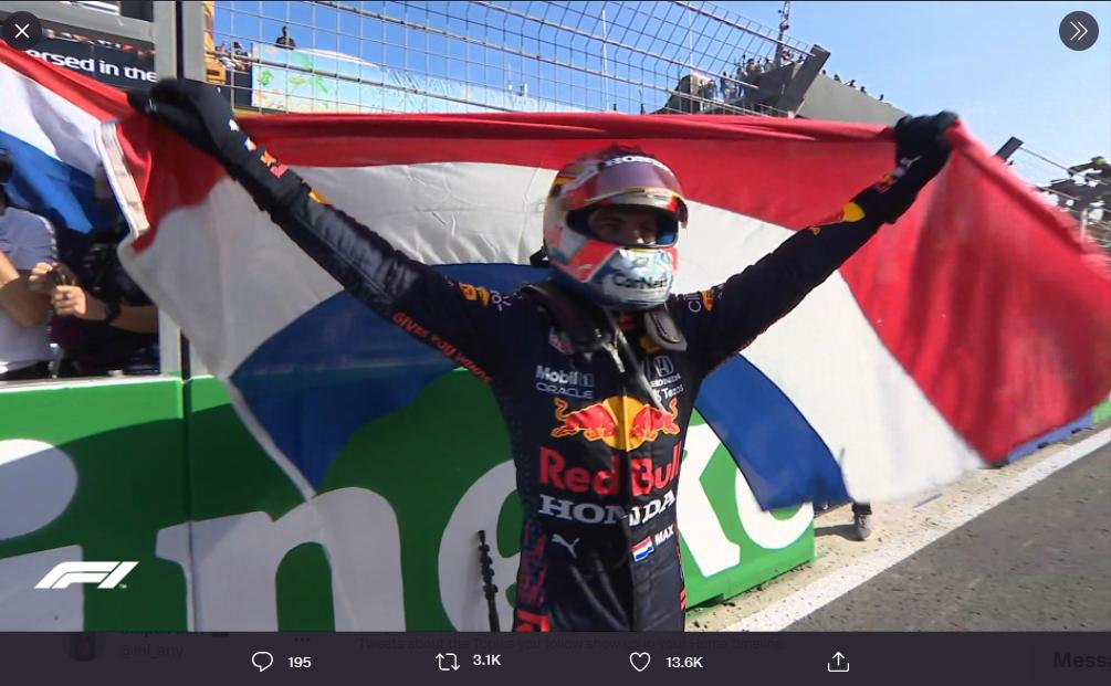 Selebrasi Max Verstappen (Red Bull Racing) usai memenangi F1 GP Belanda 2021, Minggu (5/9/2021).