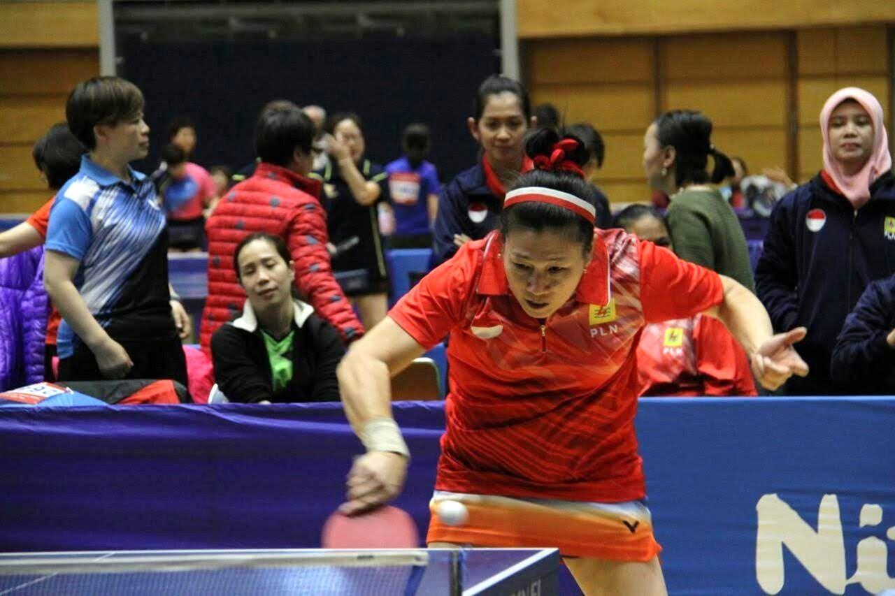 Legenda tenis meja Indonesia, Ling Ling Agustin, ketika tampil di ajang Asian (Pacific) Veteran Table Tennis Championships 2017.