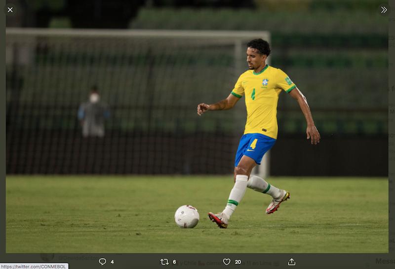 Marquinhos mencetak gol untuk Brasil dalam laga melawan Venezuela di kualifikasi Piala Dunia 2022 zona Conmebol, Jumat (8/10/2021) pagi WIB.