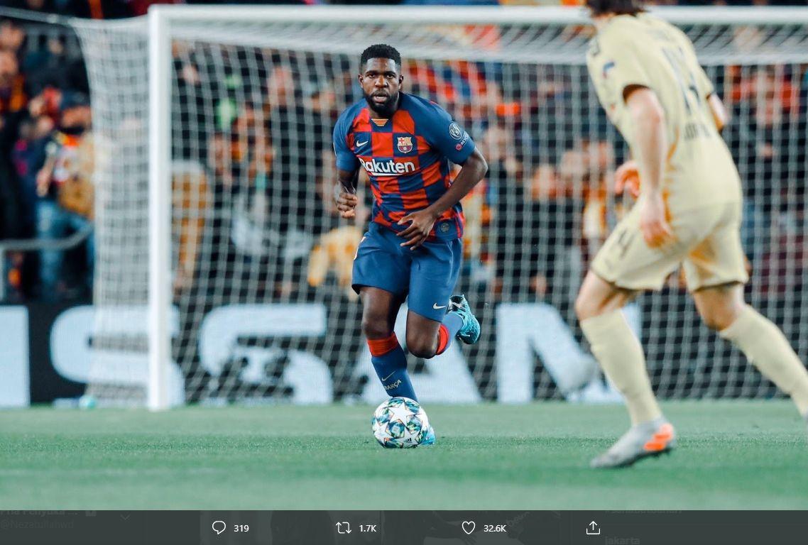 Bek Barcelona, Samuel Umtiti, dalam sebuah pertandingan.