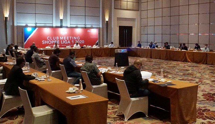 Suasana managers meeting PT LIB dengan tim Liga 1 2020 di Hotel Fairmont, Jakarta, Jumat, 7 Agustus 2020.