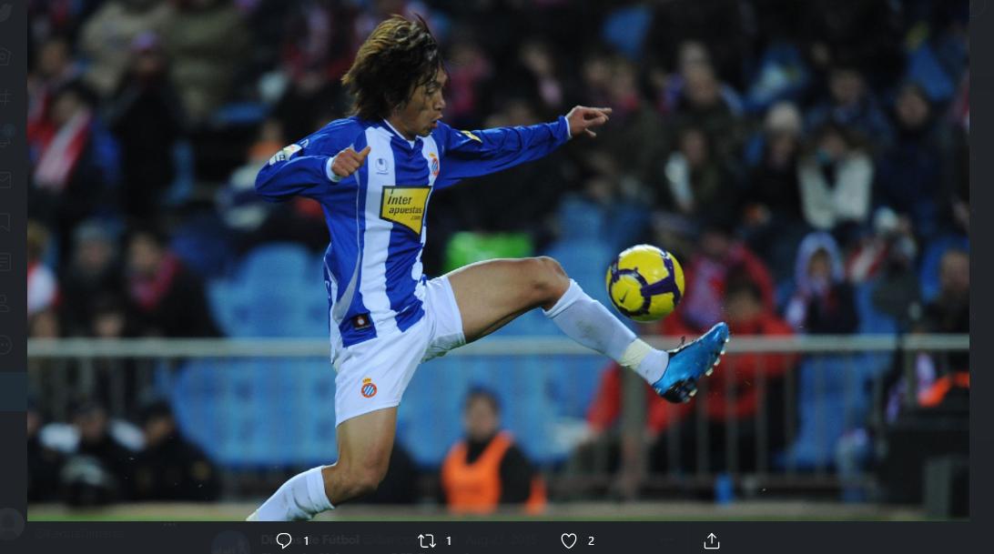 Aksi gelandang asal Jepang, Shunsuke Nakamura, saat membela Espanyol.