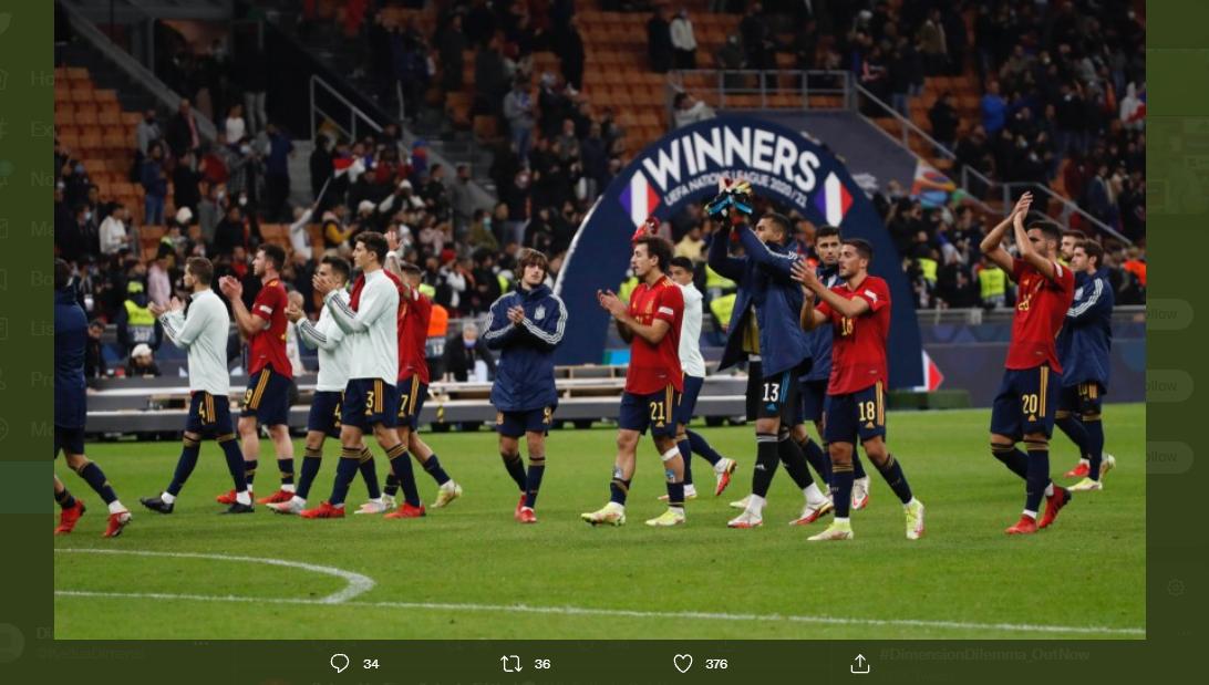 Skuad timnas Spanyol berterima kasih kepada para suporter yang telah mendukung di final UEFA Nations League 2021, Senin (11/10/2021).