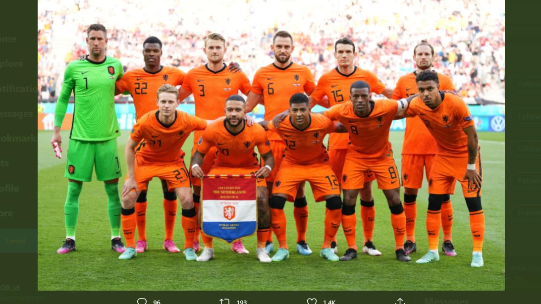 Starter timnas Belanda saat melawan Republik Ceko di Piala Eropa 2020.