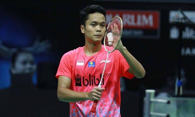 Tunggal putra Indonesia, Anthony Sinisuka Ginting, kala tampil pada laga Simulasi Piala Thomas 2020 yang digelar di Pelatnas Cipayung pada Kamis (3/9/2020).