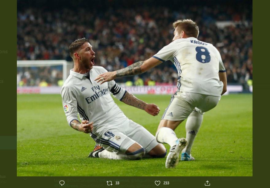 Selebrasi dua punggawa Real Madrid, Toni Kroos (kanan) dan Sergio Ramos.