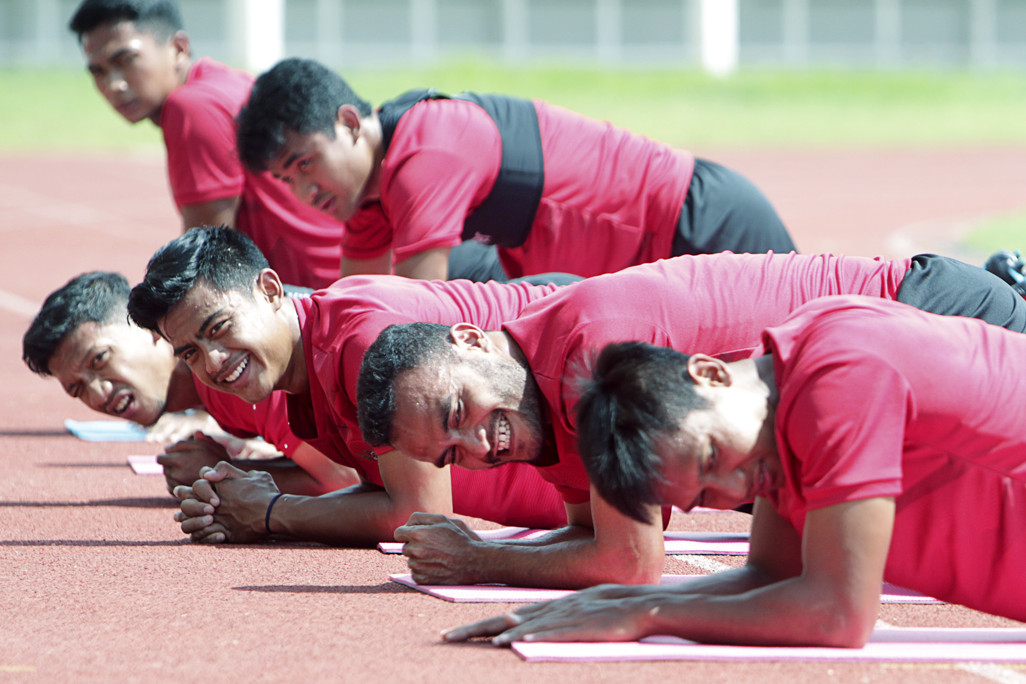 Sesi latihan Timnas Indonesia di Stadion Madya, Senayan, Jakarta, (15/2/2020).